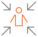 icon - man in the middle and arrows pointing to him