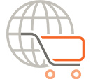 icon -globe and shopping cart