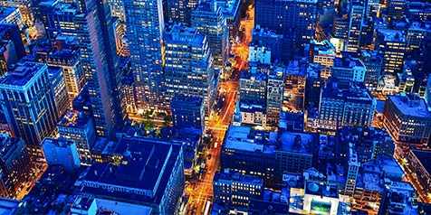 Overhead nighttime view of New York City